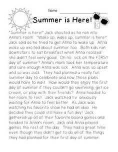 Summer is Here! {Summer Story and Reading Comprehension Mini Pack} FREEBIE