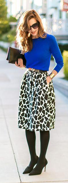 Black And White Giraffe Print Midi A-skirt