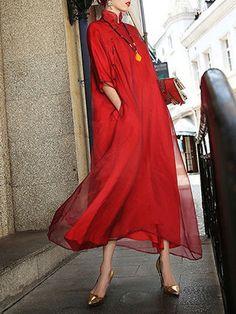 Red Plain Turtleneck Half sleeve Shift Casual Plain Paneled Silk Maxi Dress