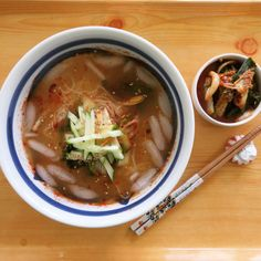 Today's Lunch- cold kimchi noodle soup. 오늘점심은 간단하게 멸치육수에 사과식초, 설탕, 겨자,참기름, 깨, 고춧가루를 넣고 얼음동동 띠워서 잘익은 풋배추 김치, 오이, 아보카도를 얹어 만든 물국수