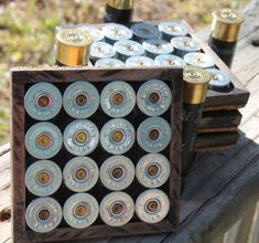 4 Shotgun Shell Coasters and Holder with a by TheBulletMan on Etsy