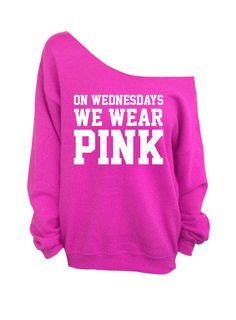On Wednesdays We Wear Pink - Slouchy Over Sized Off Shoulder Sweatshirt #DentzDesignDenim #Sweatshirt