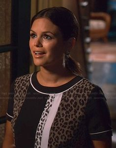 4x01. Zoe's leopard and colorblock print dress on Hart of Dixie.  Outfit Details: http://wornontv.net/42254/ #HartofDixie
