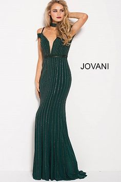 Jovani 56004 Floor length form fitting fully embellished green prom gown with sweeping train and choker features off the shoulder bodice with plunging v neck. Grad Dresses Short, Dressy Dresses, Mini Dresses, Party Dresses, Wedding Dresses, Prom Dresses Jovani, Evening Dresses, Beaded Dresses, Pageant Gowns