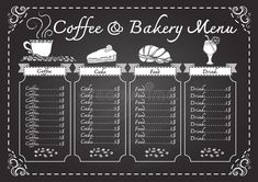 Coffee and bakery menu on chalkboard template. Coffee and bakery menu on chalkbo , #AFFILIATE, #menu, #bakery, #Coffee, #design, #template #ad