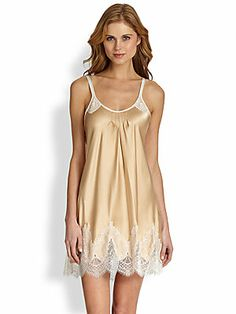 Oscar de la Renta Sleepwear Satin & Lace Chemise