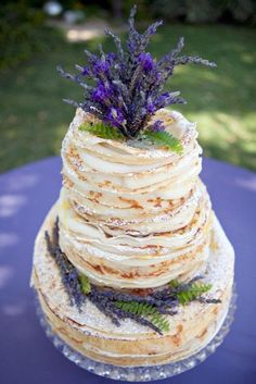 Naked Cake with lavender- perfection!