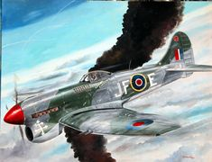 """Tempest by Lou Drendel  The Hawker Tempest of Free French Ace Pierre Clostermann. 30"""" x 24"""" oil on canvas panel.  www.Aviation-art.net"""
