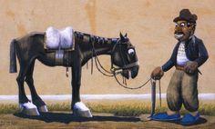 Alpargatas azules Florencio Molina Campos, argentino (1891-1959) Rio Grande Do Sul, Dory, Places To Travel, Decoupage, Horses, Comics, Humor, Animals, Canario