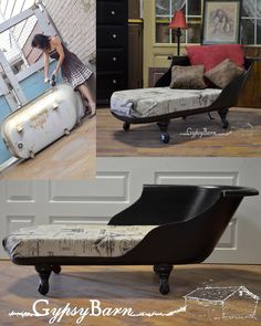 Clawfoot tub turned settee, couch, lounger, fainting couch ... whatever you would like to call it! Come visit our facebook page and see more fun creations from Gypsy Barn! http://www.gypsybarn.com