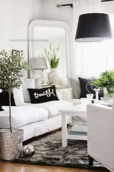 Black and White Living Room Decorating Ideas . √ 28 Black and White Living Room Decorating Ideas . 48 Black and White Living Room Ideas Decoholic White Family Rooms, Black And White Living Room, Living Room Grey, Home Living Room, Living Room Designs, Living Room Decor, Black White, White Bedrooms, Grey Room