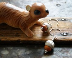 Acorn Earrings with redwood beads and silver caps  by WearYourWild