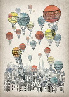 Voyages over Edinburgh Art Print. Hot Air Balloons + Scotland = Great idea for my boys' bedroom Art And Illustration, Illustrations, Balloon Illustration, Buch Design, Art Design, Graphic Design, Art Graphique, Canvas Prints, Art Prints