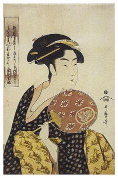 'The Beauty Ohisa' by Japanese master ukiyo-e artist & printmaker Kitagawa… Japanese Woodcut, Art Chinois, Japan Painting, Art Asiatique, Art Japonais, Orient, Japanese Prints, Japan Art, Woodblock Print
