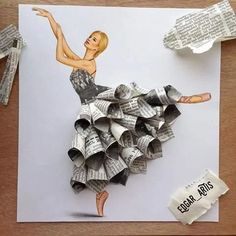 Armenian Fashion Illustrator Creates Stunning Dresses From Everyday Objects Pics) Edgar Artis fashion sketch art newspaper dress.Armenian fashion illustrator Edgar Artis creates gorgeous dress designs with everyday objects he finds at home. Funny Drawings, Art Drawings, Drawing Portraits, Kleidung Design, Illustrator, Crafts For Kids, Arts And Crafts, Diy Crafts, Kids Diy