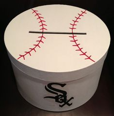 Hand painted baseball card box with team logo Valentine Day Boxes, Valentines For Kids, Valentine Day Crafts, Diy Card Box, Card Boxes, Sports Centerpieces, Bar Mitzvah Themes, Sports Wedding, Card Box Wedding