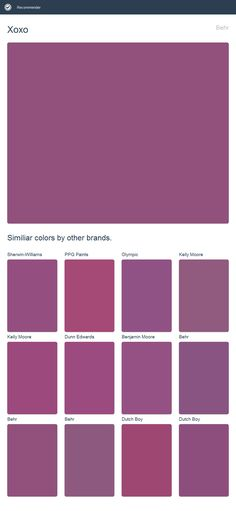 Xoxo, Behr. Click the image to see similiar colors by other brands.