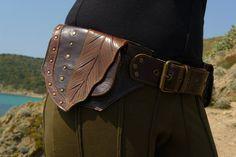 """Leather Utility Hip Belt baG - """" Brown LeaF """" - BROWN // leather belt with pockets.. $130.00, via Etsy."""