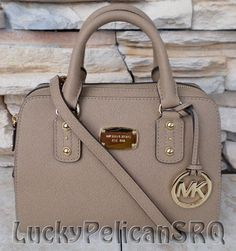 Michael Kors Small Saffiano Dark Khaki Beige Satchel Bag Handbag NWT #MichaelKors #Satchel
