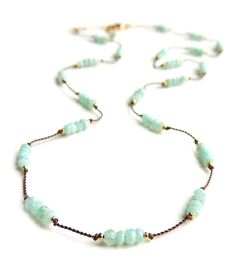 Drift Necklace with Faceted Amazonite Hand Knotted by FlowDesigns