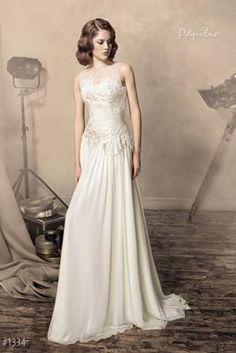 2015 Crew Sexy Papilio Cheap A Line Wedding Dresses Floor Length Chiffon Bridal Gowns Discount Vintage Plus Size Applique Lace Chiffon Ivory