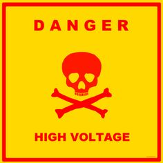 Science Laboratory Safety Signs: Red and Yellow High Voltage Sign