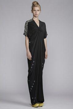 250/A131526L V-Neck Spiral Shibori Panelled Long Dress. Akira Isogawa 2014 collection