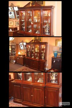 Beautiful Solid Cherry Breakfront From Davis Cabinet Company With Lighted  Interior. Excellent Condition!