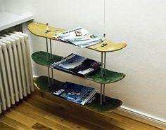 Skateboard magazine rack very cool for a boys room