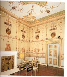Etruscan Room at OsterleyPark,Robert Adam. Neoclassicalism Pompeii style