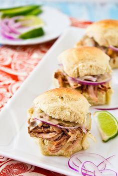 Cuban Style Pulled Pork Sliders by foodiebride, I of course do not eat pork but I am sure you all will enjoy this looks wonderful!