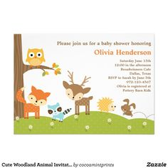 Cute Woodland Animal Baby Shower Invitations