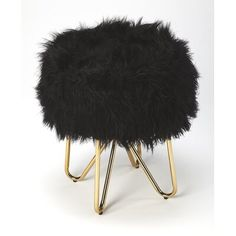 Furniture Layouts With The Lake House Black Faux Fur Gold Legs Vanity Seat Footstool Black White And Gold Bedroom, Black White Gold, Bedroom Black, Master Bedroom, Bedroom Small, Couple Bedroom, Master Suite, Gold Bedroom Decor, Black Bedroom Furniture