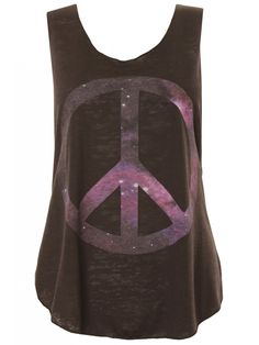 Black Galaxy Peace Sign Sheer Burnout Vest Top #cool