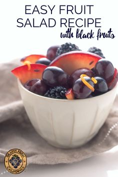 Try this easy, fresh, and healthy, black fruit salad recipe with honey for a crowd at parties, for kids, or for breakfast. Don't forget that grapes are berries!  So go with grapes from California in your berry fruit salads.  #easy #fresh #parties #healthy #foracrowd #simple #withhoney #berry #forkids #fruitsaladrecipe #breakfastfruitsalad #fruitsalad #fruitsaladeasy #fruitsaladhealthy #fruitsalads #fruitsaladbowl #blackfruit #winterfruitsalad Grape Recipes, Fruit Salad Recipes, Honey Recipes, Fruit Salads, Smart Snacks, Easy Snacks, Yummy Snacks, Healthy Snacks, Breakfast Fruit Salad