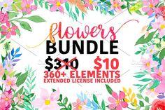 Flowers bundle by Daria Bilberry on @creativemarket