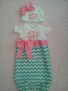 Chevron Baby Girl infant gown with ribbons, bows and monogram on Etsy, $38.50