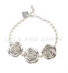 Platinum Flower Necklace chunky necklace boutique by LolaandDarla