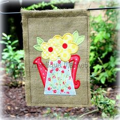 Machine Embroidery Design Applique Watering Can with by tmmdesigns, $4.00