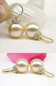 south sea pearl earrings with diamonds