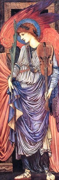 Sir Edward Coley Burne-Jones: A Musical Angel - reproduction oil painting