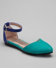 Aqua Ankle Strap Flat by MAKERS SHOES