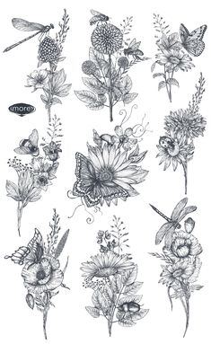 Vector insects and wildflowes set by Fancy art on Unique Tattoos, Beautiful Tattoos, Small Tattoos, Modern Tattoos, Incredible Tattoos, Pretty Tattoos, Dragonfly Tattoo, Butterfly Sleeve Tattoo, Butterfly With Flowers Tattoo