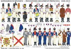 Planche 240: ROYAUME D'ESPAGNE: RÉGIMENT D'INFANTERIE PRINCESA 1808-1815