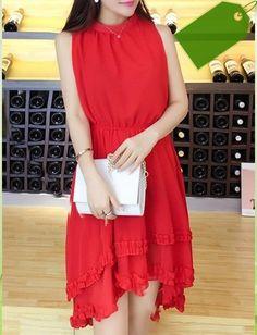 Stylish Stand Collar Solid Color Sleeveless Asymmetric Chiffon Dress For Women