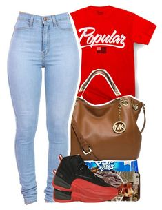 """Popular."" by prvncessbeautifulmee ❤ liked on Polyvore featuring River Island and MICHAEL Michael Kors"