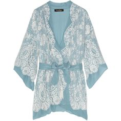 Jenny Packham Chantilly lace and silk-chiffon robe ($2,065) ❤ liked on Polyvore featuring intimates, robes, lingerie, pajamas, underwear, women, lace lingerie, lacy lingerie, blue lingerie and blue robe