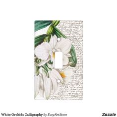 White Orchids Calligraphy Light Switch Cover