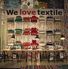 Ikea PS Design 2012 Collection at  Milan Design Week ~ 'We Love Textile' ~ Several Sewing Machines are Making Colourful Pillows, Curtains & Bedlinen from New Ikea Textile Examples.