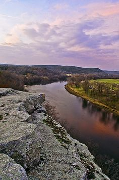 Sunset, City Rock Bluff overlooking the White River near Calico Rock, Arkansas